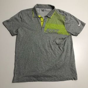 Nike Golf Sport Dri Fit Gray Mens Polo Large